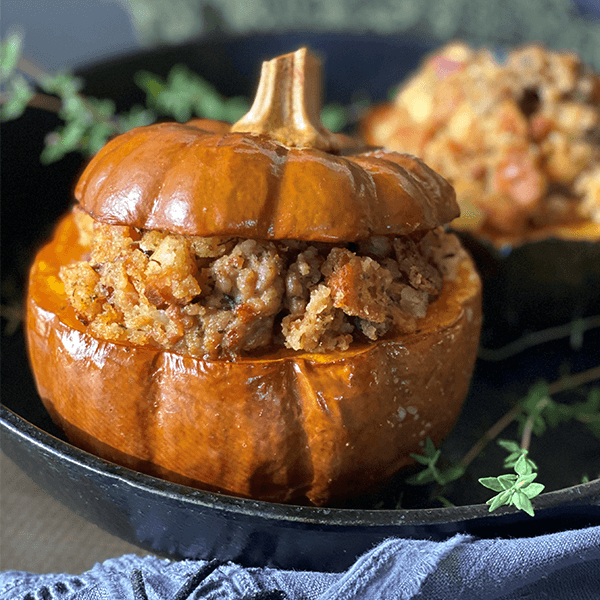 Sausage, Cranberry & Apple Stuffed Squash